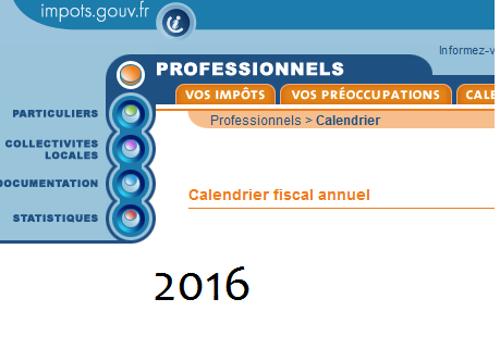 calendrier fiscal 2016 Calendrier fiscal 2016