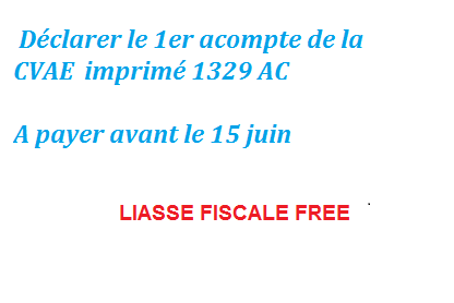 Liasse fiscale CVAE 2011:Déclarer le 1er acompte : à payer avant le 15 juin 2011
