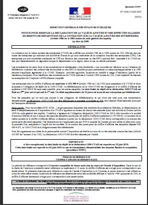 CVAE  et le plafonnement CET  2013 ( Notice CVAE )